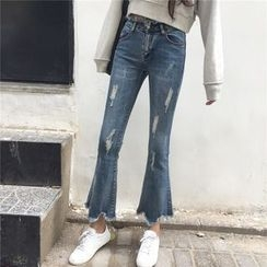 Jeans Kingdom - Distressed Washed Boot Cut Jeans