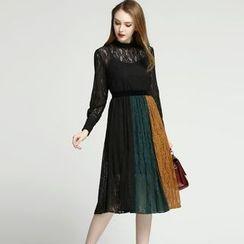 Elabo - Color Block A-Line Lace Dress