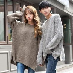 TOMONARI - Couple Zip-Side Wool Blend Bouclé-Knit Top