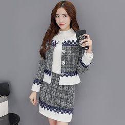 Polpetta - 三件套:高領針織上衣 + 拼接按扣夾克 + 拼接短裙