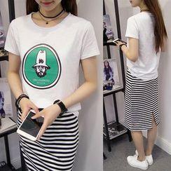 XGZ - Set: Printed Short Sleeve T-Shirt + Striped Midi Skirt