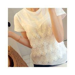LEELIN - Round-Neck Lace-Layered T-Shirt