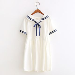 Vateddy - Sailor Collar Short-Sleeve Dress