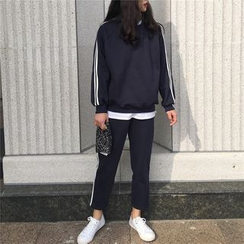 Eva Fashion - Set: Fleece-Lined Sweatshirt + Sweatpants