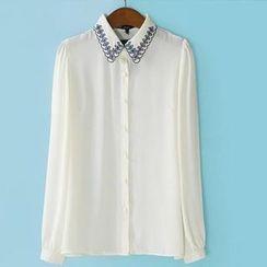 JVL - Long-Sleeve Embroidered-Collar Chiffon Shirt