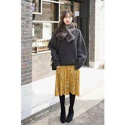 CHERRYKOKO - Balloon-Sleeve Wool Blend Sweater
