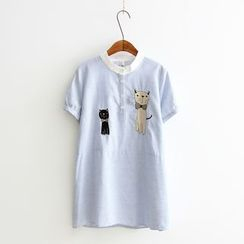 PANDAGO - Cat Embroidered Striped Short Sleeve Blouse
