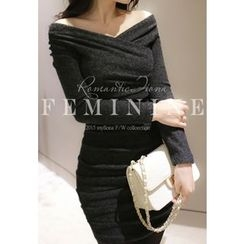 MyFiona - Wrap-Front Shirred Knit Mini Dress