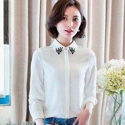 Eferu - 缀饰领雪纺衬衫