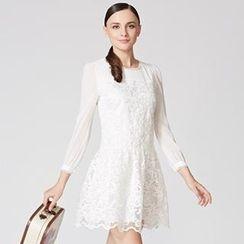 O.SA - Gathered-Waist Lace Panel A-Line Dress
