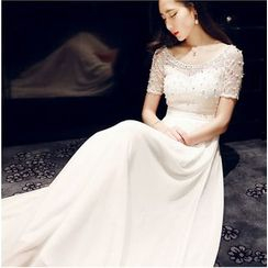 Lovi - Short-Sleeve Lace Panel Evening Gown