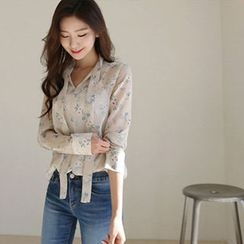 Hello sweety - Tie-Neck Floral Print Chiffon Top