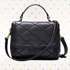 BeiBaoBao - Faux-Leather Quilted Satchel