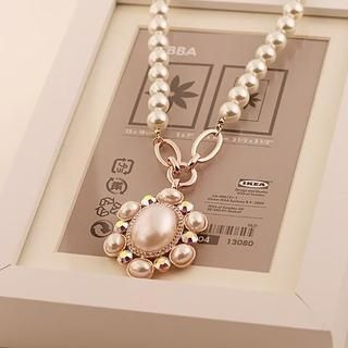 Love Generation - Rhinestone Faux-Pearl Necklace