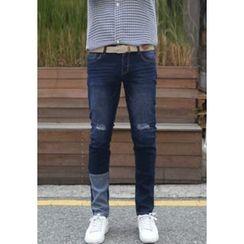 PLAYS - Contrast-Trim Slim-Fit Jeans