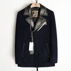 EDAO - Studded Faux Leather Collar Zip Coat
