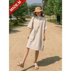 MICHYEORA - Collared Elbow-Sleeve Linen Blend Shift Dress