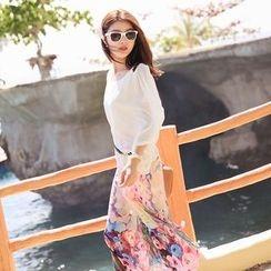 Aegean - Floral Print Cap Sleeve Chiffon Dress