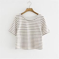 舒然衣社 - 短袖条纹T恤