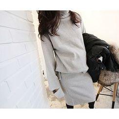 MARSHMALLOW - Set: Turtle-Neck Cutaway-Detail Top + Banded-Waist Skirt