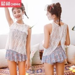 Morning Dew - 套装: 印花坦基尼泳衣 + 罩衫