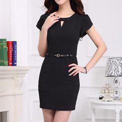Caroe - Cap-Sleeve Keyhole Front Sheath Dress