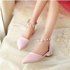 Tomma - 仿珍珠踝带尖头平底凉鞋