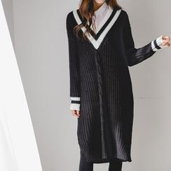 JUSTONE - V-Neck Contrast-Trim Knit Dress