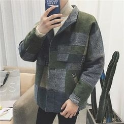 JUN.LEE - Plaid Knit Jacket