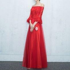 Luxury Style - Off Shoulder 3/4 Sleeve Wedding Gown