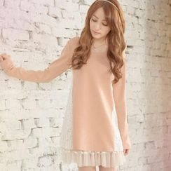 Tokyo Fashion - Long-Sleeve Lace-Panel A-Line Top