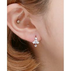 Miss21 Korea - Rhinestone Mini Hoop Earrings