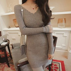 Coralie - Scalloped Trim Knit Dress