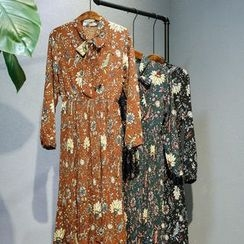 11.STREET - Floral Print Long-Sleeve Dress