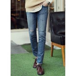 JOGUNSHOP - Cutout Slim-Fit Jeans