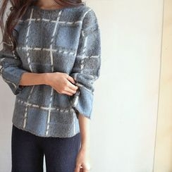 Hello sweety - Wool Blend Plaid Sweater