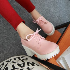 Pastel Pairs - Chunky Heel Lace Up Shoes