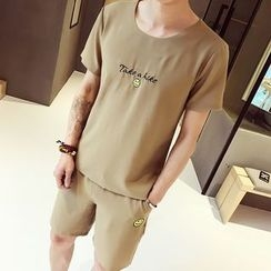 Hawoo - Set: Short-Sleeve Embroidery T-Shirt + Shorts