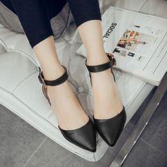 ZIMA - 踝带尖头平跟鞋