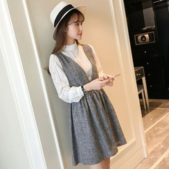 Colorful Shop - Tie-Waist Jumper Dress