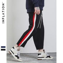 Newin - Straight-Cut Striped Cropped Pants