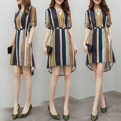 Elinor - Striped Elbow-Sleeve Shift Dress