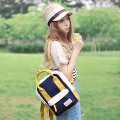 SUPER LOVER - Color Block Canvas Backpack