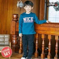 BILLY JEAN - Kids Set: Brushed Fleece Lined Lettering Sweatshirt + Harem Pants