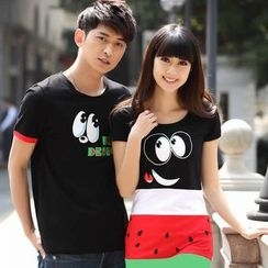 Lovebirds - Couple Printed T-Shirt / Color-Block Dress