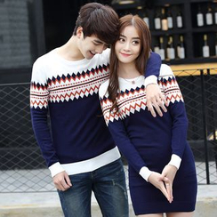 Igsoo - Couple Matching Patterned Knit Pullover / Long-Sleeve Patterned Knit Dress