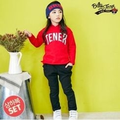 BILLY JEAN - Kids Set: Hooded Lettering Sweatshirt + Faux-Fur Lined Pants