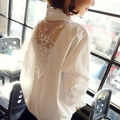 Dowisi - Mesh Inset Long-Sleeved Blouse