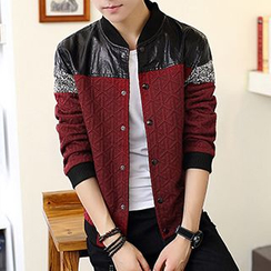 Besto - Faux Leather Panel Varsity Jacket