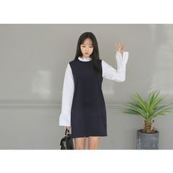 Envy Look - Mock Two-Piece Frill-Neck Shift Dress